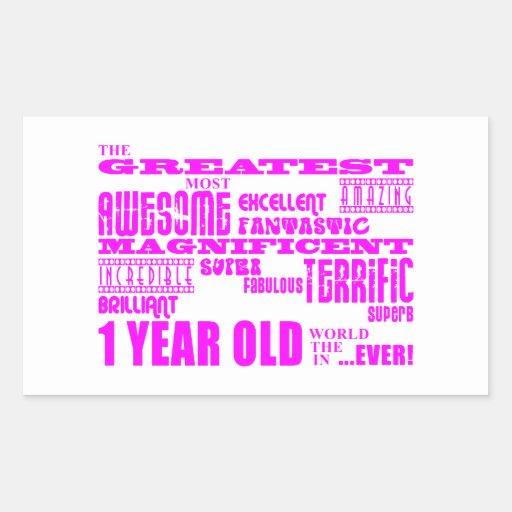 Girls 1st Birthday : Pink Greatest 1 Year Old Rectangular Sticker