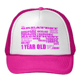 Girls 1st Birthday : Pink Greatest 1 Year Old Trucker Hat
