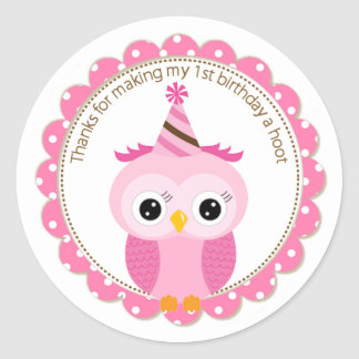 Girls 1st Birthday Pink Owl Thank You Classic Round Sticker