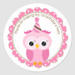 Girls 1st Birthday Pink Owl Thank You Round Stickers