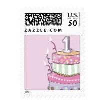Girls 1st Birthday Postage Stamps