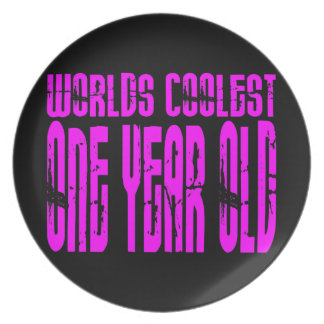 Girls 1st Birthdays Pink Worlds Coolest One Year Party Plate