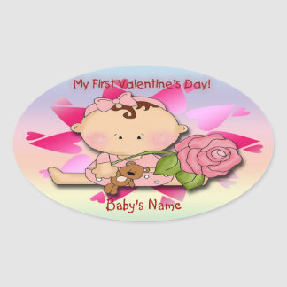 Girl's 1st Valentine's Day Oval Stickers