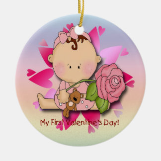 Girl's 1st Valentine's Day  Round Ornament