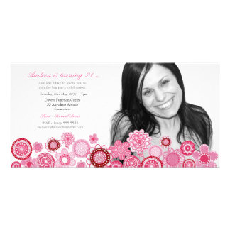 Girls 21st Birthday Party Pink Photo Card Template