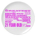 Girls 21st Birthdays : Pink Greatest 21 Year Old Dinner Plate