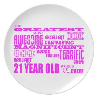 Girls 21st Birthdays : Pink Greatest 21 Year Old Plate
