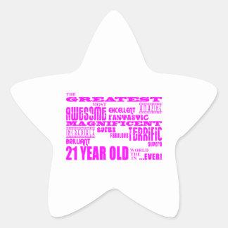 Girls 21st Birthdays : Pink Greatest 21 Year Old Star Sticker