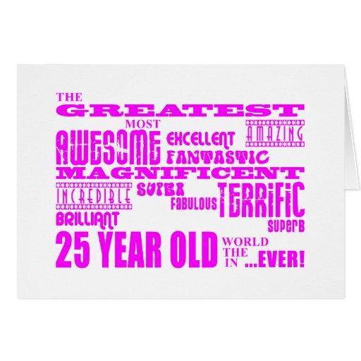 Girls 25th Birthdays Pink Greatest Twenty Five Stationery Note Card