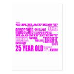 Girls 25th Birthdays Pink Greatest Twenty Five Postcard
