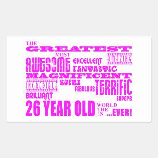 Girls 26th Birthdays Pink Greatest Twenty Six Rectangular Sticker