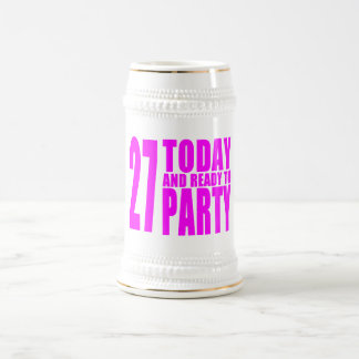 Girls 27th Birthdays : 27 Today and Ready to Party 18 Oz Beer Stein