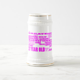 Girls 27th Birthdays Pink Greatest Twenty Seven 18 Oz Beer Stein