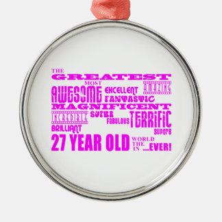 Girls 27th Birthdays Pink Greatest Twenty Seven Christmas Ornament