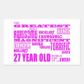 Girls 27th Birthdays Pink Greatest Twenty Seven Rectangle Stickers