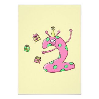 Girls 2nd Birthday Cartoon in Pink. Card