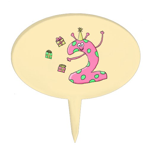 Girls 2nd Birthday Cartoon in Pink. Oval Cake Pick