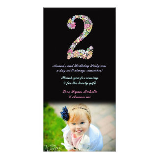 Girls 2nd Birthday Floral Thank You Photo Card