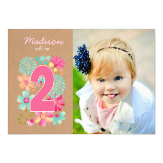 Girls 2nd Birthday Party Number Photo Invitation
