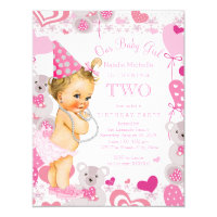 2nd birthday invitations 1100 2nd birthday announcements invites girls 2nd birthday party pink teddy bears hearts filmwisefo
