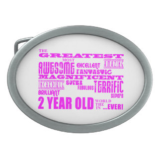 Girls 2nd Birthdays : Pink Greatest 2 Year Old Oval Belt Buckle