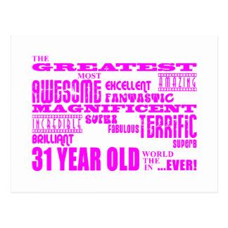 Girls 31st Birthdays : Pink Greatest Thirty One Postcard