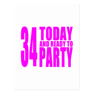 Girls 34th Birthdays : 34 Today & Ready to Party Postcard