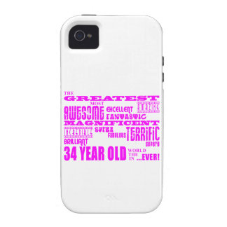 Girls 34th Birthdays Pink Greatest Thirty Four iPhone 4/4S Cases