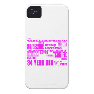 Girls 34th Birthdays Pink Greatest Thirty Four iPhone 4 Case-Mate Cases
