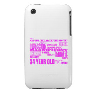 Girls 34th Birthdays Pink Greatest Thirty Four Case-Mate iPhone 3 Case