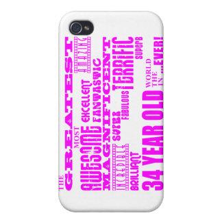 Girls 34th Birthdays Pink Greatest Thirty Four iPhone 4 Case