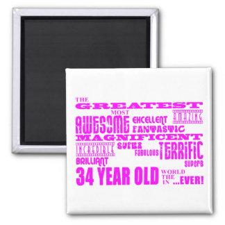 Girls 34th Birthdays Pink Greatest Thirty Four Magnets