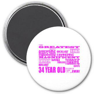 Girls 34th Birthdays Pink Greatest Thirty Four Fridge Magnets