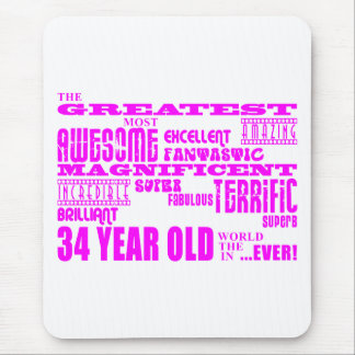 Girls 34th Birthdays Pink Greatest Thirty Four Mouse Pad