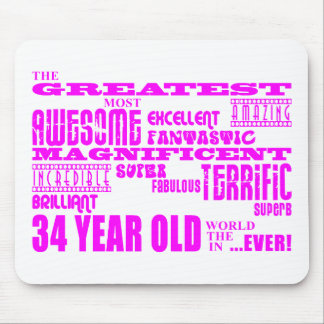 Girls 34th Birthdays Pink Greatest Thirty Four Mouse Pads