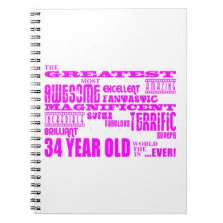 Girls 34th Birthdays Pink Greatest Thirty Four Spiral Notebooks