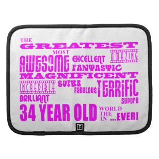 Girls 34th Birthdays Pink Greatest Thirty Four Organizer