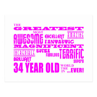 Girls 34th Birthdays Pink Greatest Thirty Four Postcard