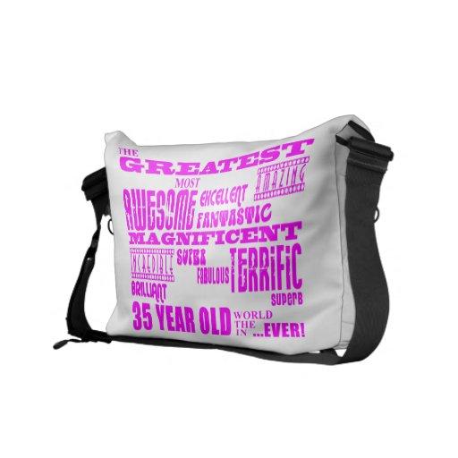 Girls 35th Birthdays Pink Greatest Thirty Five Messenger Bags