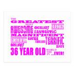 Girls 36th Birthdays Pink Greatest Thirty Six Postcard