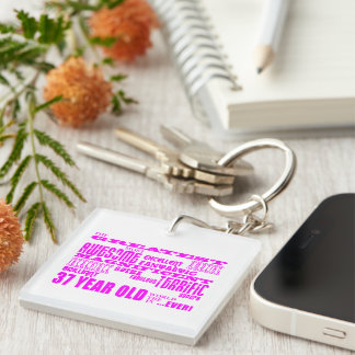 Girls 37th Birthdays Pink Greatest Thirty Seven Single-Sided Square Acrylic Keychain