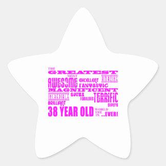 Girls 38th Birthdays Pink Greatest Thirty Eight Star Sticker