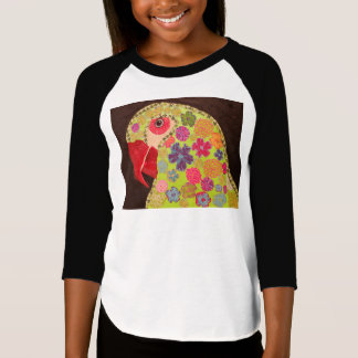 Girls 3/4 Sleeve T-Shirt with Cute Parrot Design