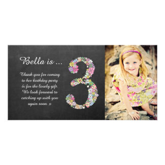 Girls 3rd Birthday Floral Thank You Photo Card