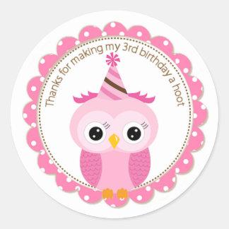 Girls 3rd Birthday Pink Owl Thank You Classic Round Sticker