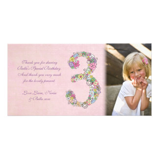 Girls 3rd Birthday Thank You Photo Card