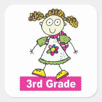 Girls 3rd Grade Square Sticker