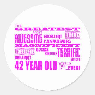 Girls 42nd Birthdays Pink Greatest Forty Two Classic Round Sticker