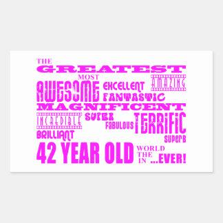 Girls 42nd Birthdays Pink Greatest Forty Two Rectangular Sticker