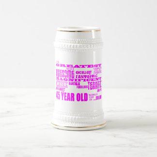 Girls 45th Birthdays Pink Greatest Forty Five 18 Oz Beer Stein